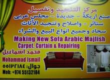 making new sofa Arabic majlish carpet curtain & repairing