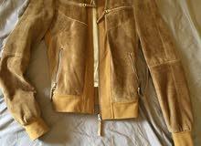جاكيت ستاتي جلد شامواه طبيعي genuine chamois leather jacket