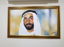 لوحة الشيخ زايد مرسومة بضباغة الزيتية