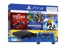 brand new 500 GB  3 games : uncharted , spiderman , ratchet clank