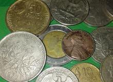 نقود أجنبية فرنسية و أمريكية 10-50 فرنكا و ربع الدوﻻر اﻷمريكي