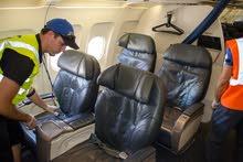 خدمات تعقيم الطائرات و غسيل صالونها والكراسي وجميع أسطح الطائرات