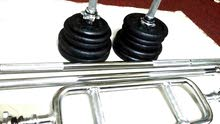 dumbbell and barbell set.