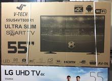 شاشة 55 انش V-TECH SMART 4K كفالة LG (الرؤيا الحديثة) بسعر مغري مع رسيفر هدية