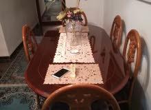 طقم كنب للبيع 9 مقاعد خشب سويد اصلي + غرفة سفرة خشب ممتاز ستة مقاعد