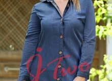 قميص جينز طويل بلبس من 38 لل 44  المبيع