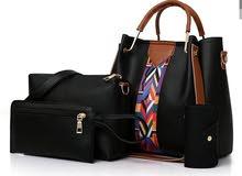 حقيبة يد نسائيه اربع قطع لون اسود