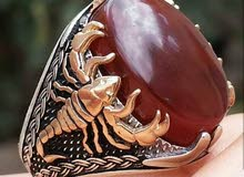 خاتم. العقرب بفضة ايطالي وتصميم تركي وعقيق يمني اصل تصميم 2017