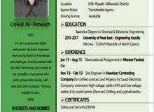 مهندس كهرباء و إلكترون(حديث التخرج)Electrical and Electronic engineer(fresh grad