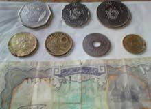 عملة عراقية 250فلس1981+عملة ليبية100مليم+50مليم لسنة 1965بحالة جيدة جد