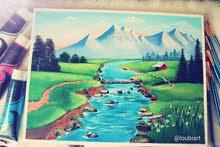 لوحة فنية بصباغة اكريليك