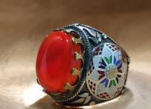 خاتم فضة بعقيق يماني طبيعي