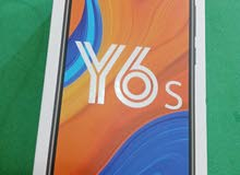 موبايل Y6s نضيف ما مفتوح مع كارتونه لونه برتقالي رايده 160