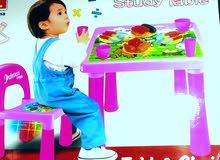 طاوله مع كرسي  مع صحون وكاسه  نوعيه فاخره