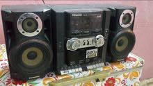 ستيريو باناسونيك راديو 4 موجات ودبل كاسيت واواكس مضخم و هوائيات تحكم بالصوت نظيف