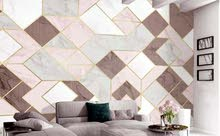 Custom wallpaper gold lines geometric graphics TV wall living bedroom
