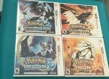 للبيع بالكامل مجموع 4 اشرطة Pokemon لجهاز Nintendo 3DS