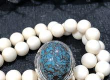 خاتم فيروز سيناوي مرصع بعدد 18 حبه الماس