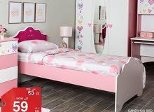 سرير بناتي جديد (صناعة تركية) مقاس 90*200 لون زهر