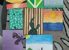 مجموعة من 8 لوحات رسم يدوي