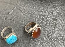 خاتم عقيق يماني وخاتم فيروز رضواني ايراني