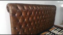 genuine leather chesterfield super king bed