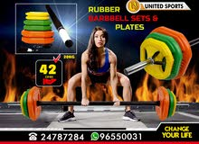 Rubber Barbell set & Plates
