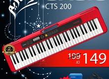 أورغ كاسيو من الوكيل Casio CTS200 باللون الأحمر مع محول أصلي بأفضل سعر و كفالة