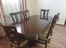 طاولة سفرة كبيرة مع ست كراسي ولوح زجاج خشب صولد