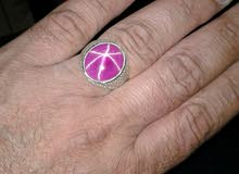 خاتم فضة.بحجر روبي ستار احمر