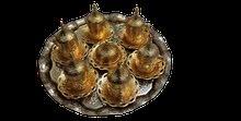 طقم فناجين قهوة تركي عثماني جديد لون ذهبي تقيل نوع ممتاز جدا