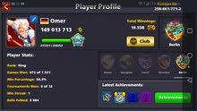8ballpool 134 level, 1 legendary, 61cues, 149m,