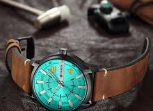 ساعة كورين رجالي 8306 جلد بني ميناء جنزاري مقاومة للمياه ضمان عام