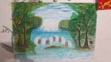 رسم علي الحائط مناظر طبيعيه وبدويه
