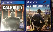 للبيع او البدل لعبتين PS4 watchdogs 2 و call of duty black ops
