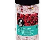 بلورات أملاح البحر الميت للاستحمام مع الورد وزيت الأرجان