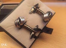 Two Silver Tone Knot Cufflinks for Men Shirt