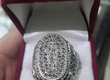 خاتم فضة 925 رجالى مرصع بكسر الماظ طبيعى