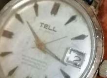 ساعة ملو استيك جلد عمرها 50 عاما ماركة tell سويسري اصلي