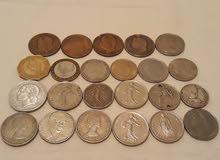 نقود قديمة متنوعة فرنسية امريكية المانية اسبانيا ايطاليا ...