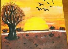 لوحة رسم طبيعي ( غروب الشمس) ..