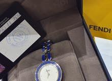 ساعة FENDI سلفر وأزرق براقه