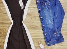 فستان قطن مكفول  قياسين 1و2  زيتي واسود  من 38 لل 44 فعلي  عليكي،