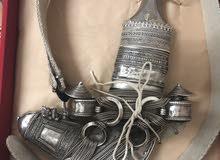 خنجر عمانية فضة خالصة الشغل القديم والثقيل خنجر 7 حلق قرن الزراف الهندي مطلوب 470 ريال