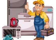 تصليح وصيانه جميع انواع الثلاجات والغسالات  وتعبئة غاز مكيفات وثلاجات