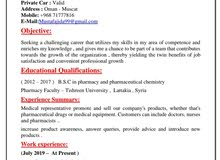 Looking for job as a medical Representative for cosmetic company