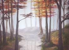 لوحة فنية غواش لغابة