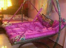 السرير المرجيحة حديد مجدول راتان