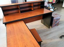 Cherry real wood Office table with 2 drawers and extra table and a shelf
