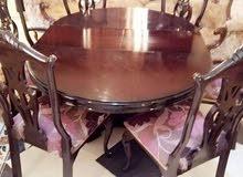 طاولة سفرة خشب زان مع 6 كراسي